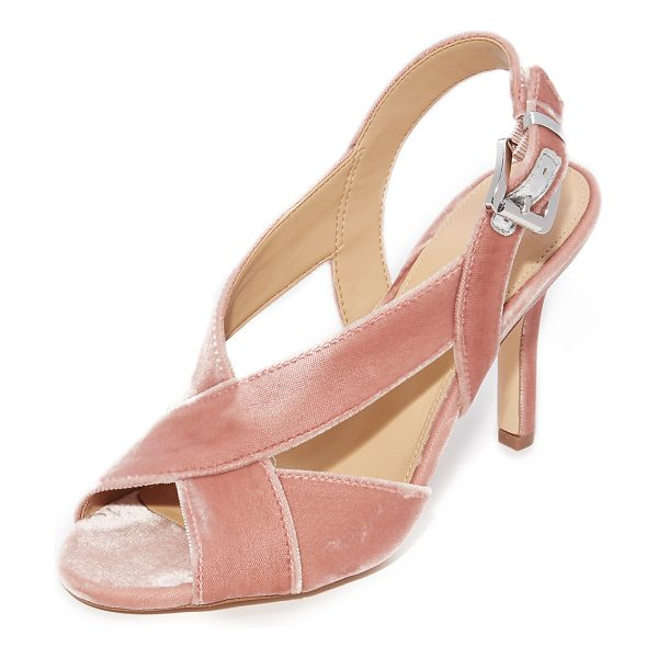 MICHAEL Michael Kors becky sandals in blush - Plush velvet MICHAEL Michael Kors sandals, detailed with...