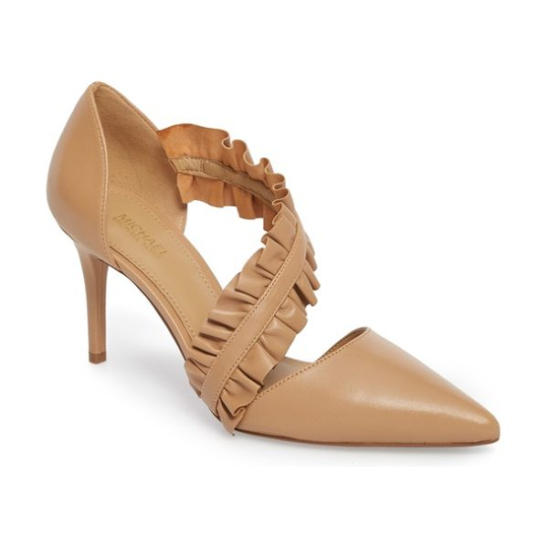 MICHAEL MICHAEL KORS bella ruffle pump - Double ruffles frill the angled arch strap of a...