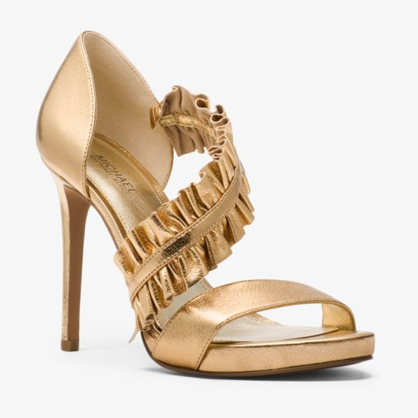 MICHAEL Michael Kors Bella Ruffled Metallic Leather Sandal in gold