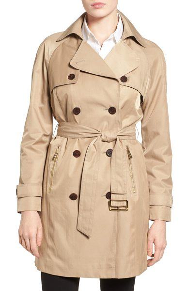 MICHAEL Michael Kors belted double breasted trench coat in khaki - A timeless trench coat to see you through seasons of...