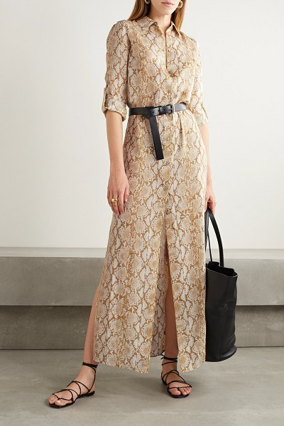 MICHAEL Michael Kors belted snake-print silk-crepe maxi shirt dress in beige