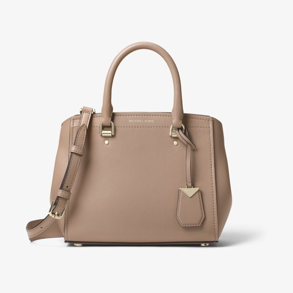 MICHAEL Michael Kors Benning Medium Leather Satchel in brown - Crafted From Smooth Leather This Benning Satchel Opens...
