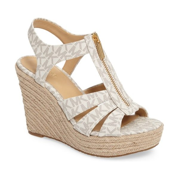 MICHAEL Michael Kors berkley platform wedge in vanilla faux leather - A zippered T-strap adds a clever finish to a classic...