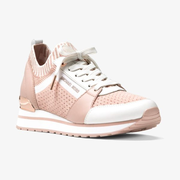 MICHAEL Michael Kors Billie Knit Trainer in pink - Crafted From A Modern Mix Of Smooth Leather Accents And...