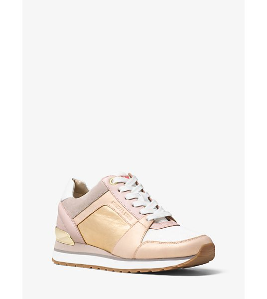 MICHAEL Michael Kors Billie Leather Sneaker in pink - Crafted From A Sleek Mix Of Suede And Smooth Leather...