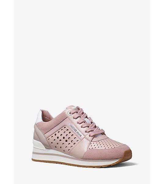 MICHAEL Michael Kors Billie Perforated Leather And Suede Sneaker in pink - Crafted From A Sleek Mix Of Perforated Leather And Suede...