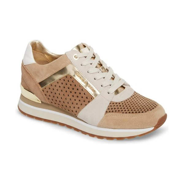 MICHAEL Michael Kors billie perforated sneaker in light khaki - Mixed finishes and oversize perforations add sporty...
