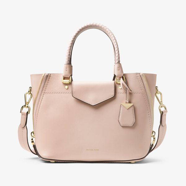 MICHAEL Michael Kors Blakely Leather Satchel in pink - Detailed With Woven Top Handles And Side Zip Details Our...