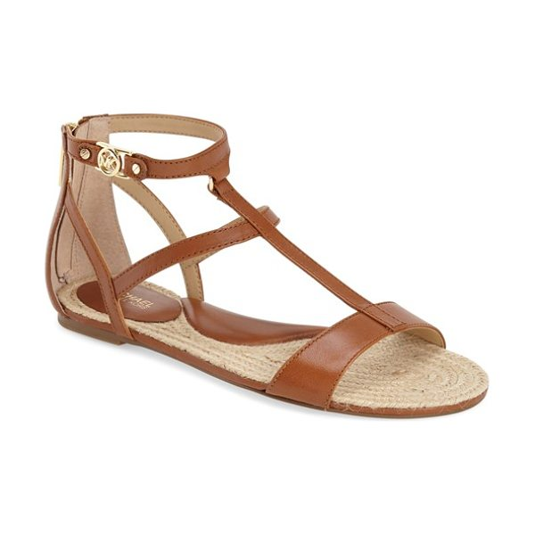 MICHAEL Michael Kors bria sandal in luggage - Slender asymmetrical straps further the polished...