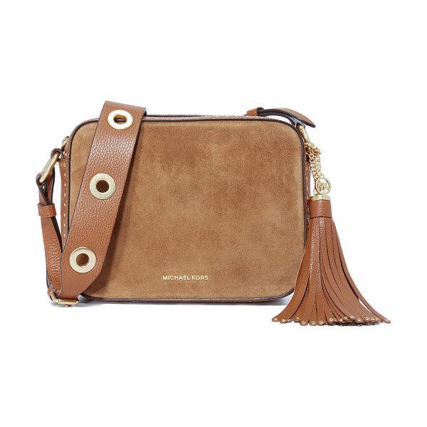 MICHAEL Michael Kors Brooklyn camera bag in dark caramel - A grommet trimmed MICHAEL Michael Kors bag in pebbled...