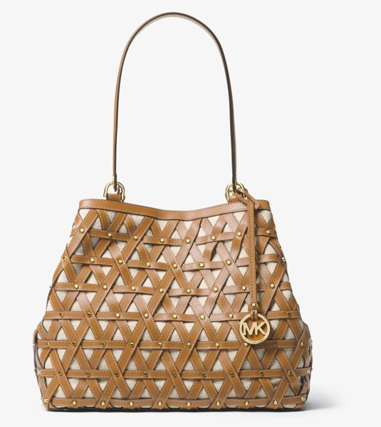 MICHAEL MICHAEL KORS Brooklyn Large Leather And Canvas Tote - The Brooklyn Tote Boasts Artisanal Appeal In An...