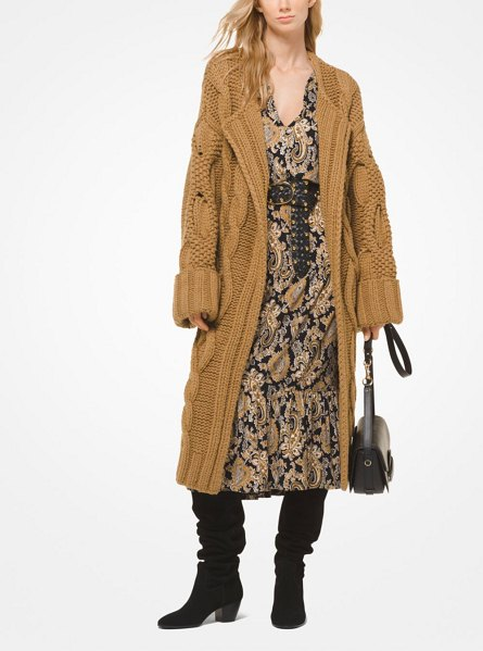 MICHAEL Michael Kors Cable-Knit Oversized Cardigan in brown - Designed In A Chic Oversized Silhouette This Cardigan...