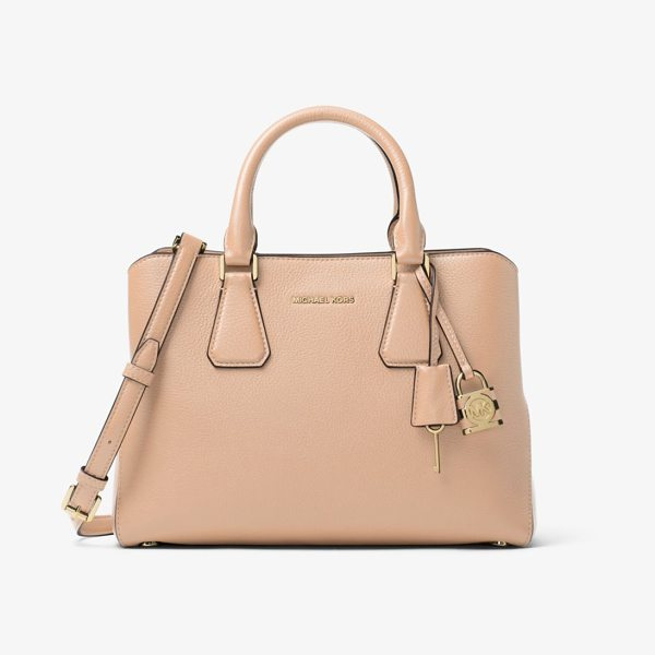 MICHAEL Michael Kors Camille Leather Satchel in natural - Rendered In Pebbled Leather With Touches Of Gold-Tone...