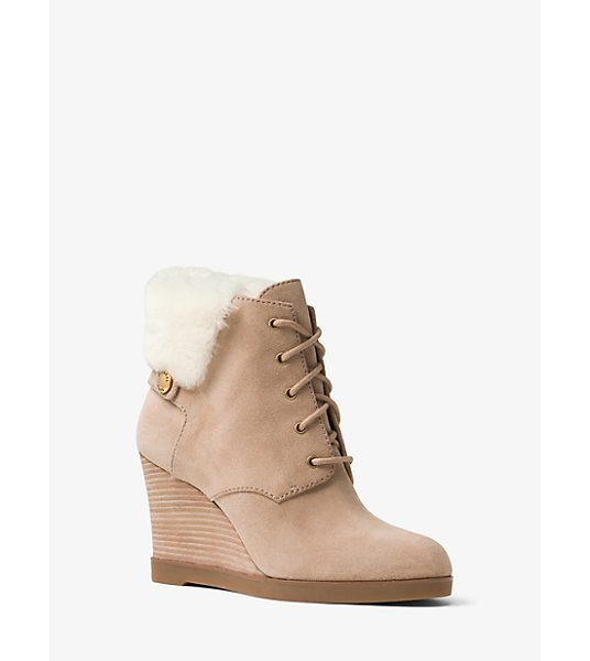 MICHAEL Michael Kors Carrigan Suede And Fur Wedge Boot in natural - Crafted From Sumptuous Suede Our Carrigan Ankle Boots...