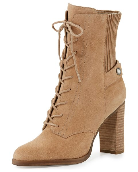 "MICHAEL Michael Kors Carrigan Suede Lace-Up Bootie in dk khaki - MICHAEL Michael Kors suede bootie. 3.8"" stacked block..."