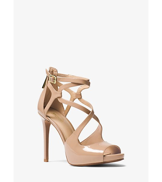 MICHAEL Michael Kors Catia Patent Leather Sandal in brown - Rise To The Occasion With The Catia Sandal. This...