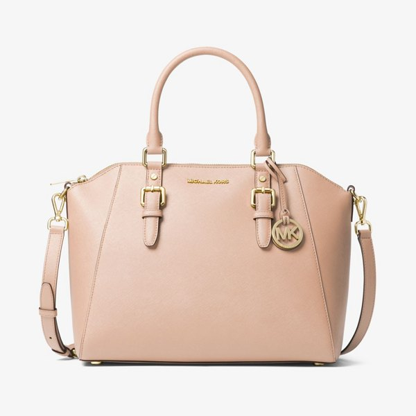 MICHAEL Michael Kors Ciara Large Saffiano Leather Satchel in pink - Our Ciara Satchel Will Complement Everyday Looks With...