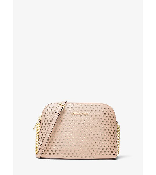 MICHAEL Michael Kors Cindy Perforated Saffiano Leather Crossbody in pink - Our Cindy Crossbody Is A Stylish Way To Keep Essentials...