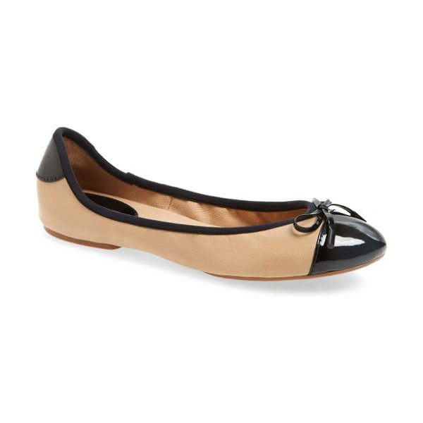 MICHAEL Michael Kors 'city' ballet flat in toffee patent - Sporty nylon updates a smart, cap-toe flat finished with...