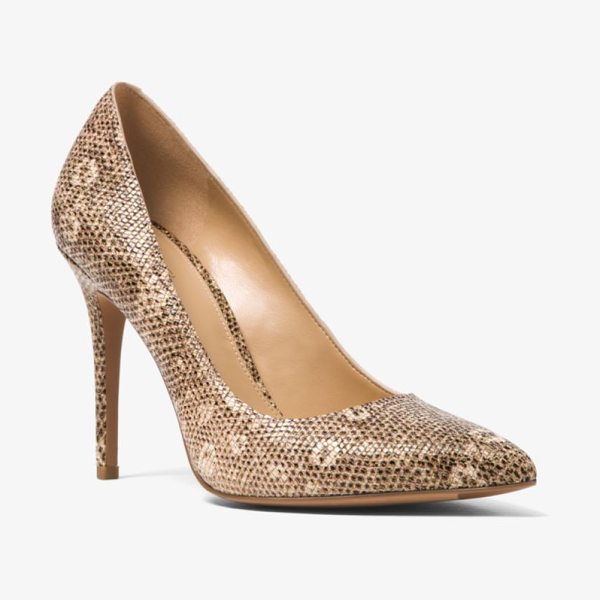 MICHAEL Michael Kors Claire Lizard-Embossed Leather Pump in natural - Our Claire Pumps Are Crafted From Lizard-Embossed...