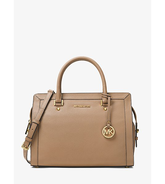 MICHAEL Michael Kors Collins Large Leather Satchel in natural - Strike A Balance Between Simple And Sophisticated With...