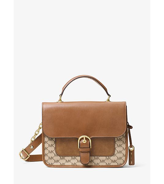 MICHAEL Michael Kors Cooper Large Leather Satchel in brown - Preppy Meets Polished With The Cooper Satchel. The Logo...