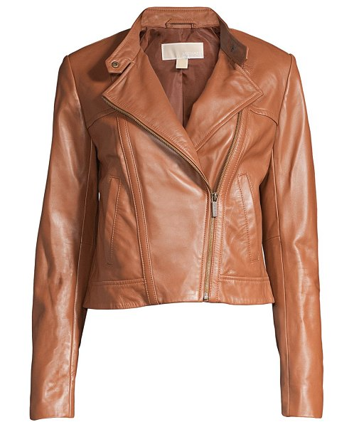 MICHAEL Michael Kors cropped leather jacket in luggage