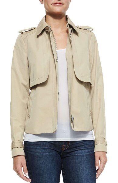 """MICHAEL Michael Kors Cropped sateen trench coat in khaki - MICHAEL Michael Kors sateen trench coat. Approx. 14""""L..."""