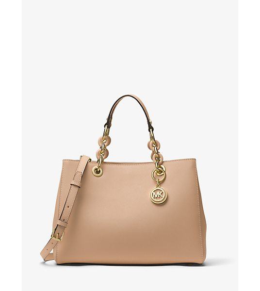 MICHAEL Michael Kors Cynthia Medium Saffiano Leather Satchel in natural - Our Cynthia Satchel Is A Polished Desk-To-Dinner Staple...