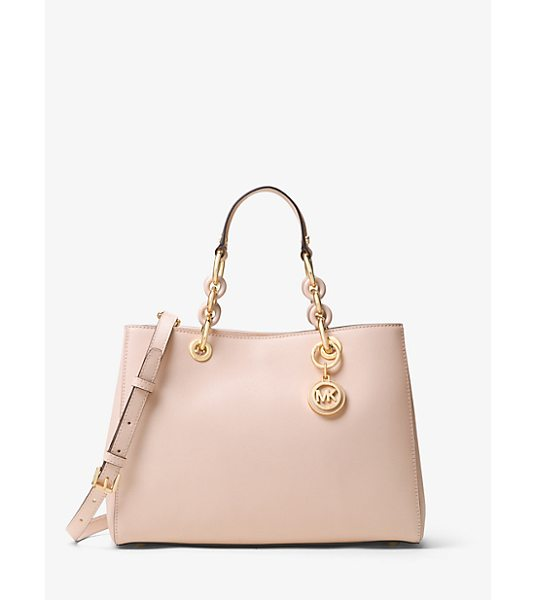 MICHAEL Michael Kors Cynthia Medium Saffiano Leather Satchel in pink - Our Cynthia Satchel Is A Polished Desk-To-Dinner Staple...