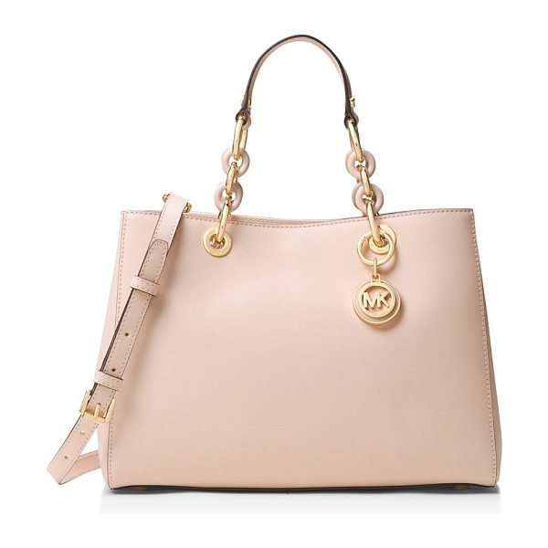 MICHAEL Michael Kors Cynthia Medium Saffiano Leather Satchel in soft pink/gold - Michael Michael Kors Cynthia Medium Saffiano Leather...