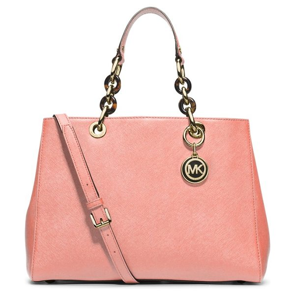MICHAEL Michael Kors Cynthia saffiano leather satchel in pale pink - Gleaming, logo-embossed hardware and mixed-link chain...