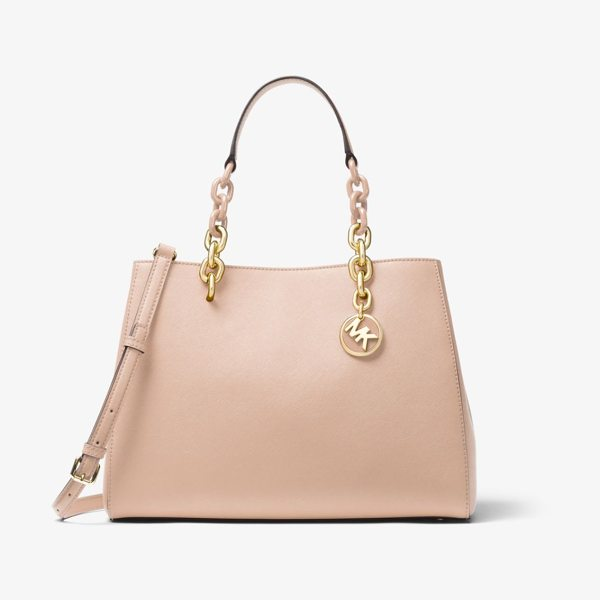 MICHAEL Michael Kors Cynthia Saffiano Leather Satchel in pink - Our Cynthia Satchel Is A Polished Desk-To-Dinner Staple...