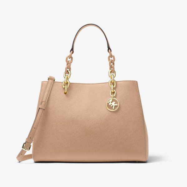 MICHAEL Michael Kors Cynthia Saffiano Leather Satchel in natural - Our Cynthia Satchel Is A Polished Desk-To-Dinner Staple...