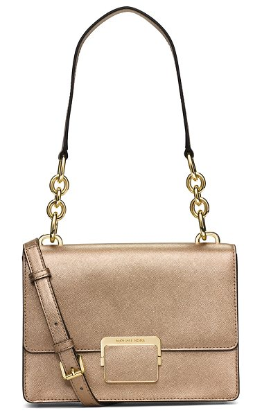 MICHAEL Michael Kors Cynthia saffiano leather shoulder bag in pale gold