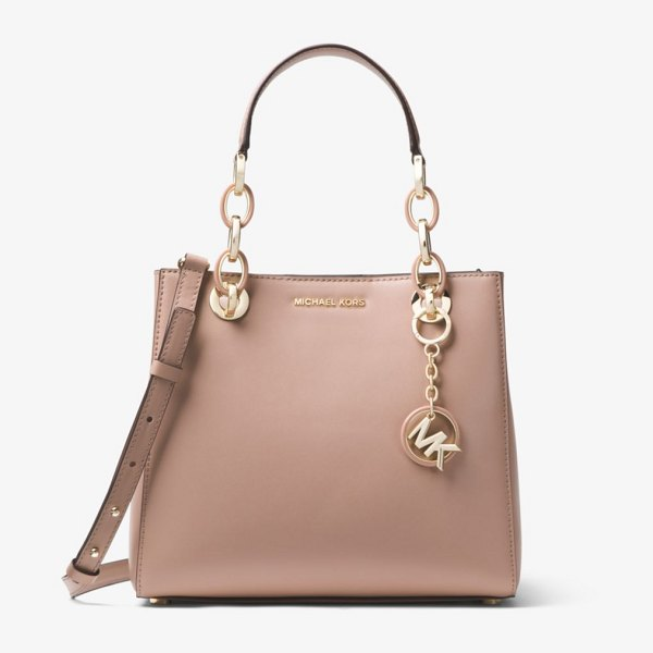 MICHAEL Michael Kors Cynthia Small Leather Satchel in natural - Our Cynthia Satchel Is A Polished Desk-To-Dinner Staple...