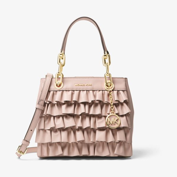 MICHAEL Michael Kors Cynthia Small Ruffled Leather Satchel in pink - Our Cynthia Satchel Is A Feminine Desk-To-Dinner Staple...