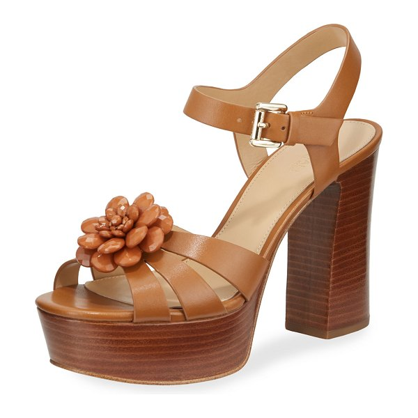 MICHAEL Michael Kors Dalia Leather Flower Platform Sandals in brown