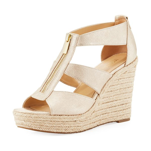 "MICHAEL Michael Kors Damita Metallic Wedge Sandal in gold - MICHAEL Michael Kors ""Damita"" saffiano leather sandal...."