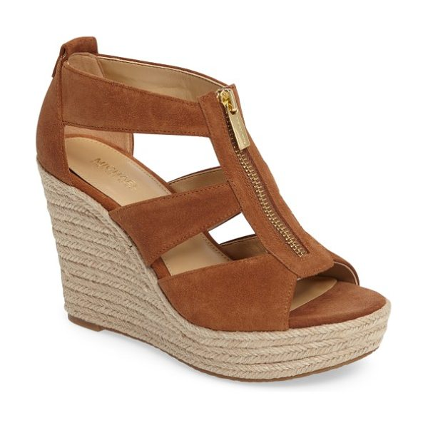 MICHAEL Michael Kors 'damita' wedge sandal in luggage sport suede - A logo-etched zipper skims the breezy straps of a woven...