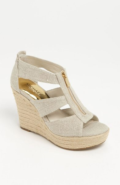 MICHAEL Michael Kors damita wedge sandal in natural - A logo-etched zipper skims the breezy straps of a woven...