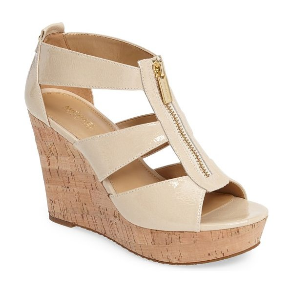 MICHAEL Michael Kors 'damita' wedge sandal in ecru patent leather