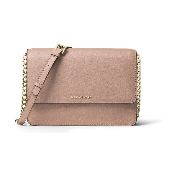 MICHAEL MICHAEL KORS Daniela Large Saffiano Crossbody Bag in fawn - MICHAEL Michael Kors saffiano leather crossbody bag....