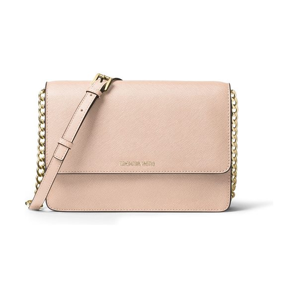 MICHAEL Michael Kors Daniela Large Saffiano Crossbody Bag in soft pink - MICHAEL Michael Kors saffiano leather crossbody bag....