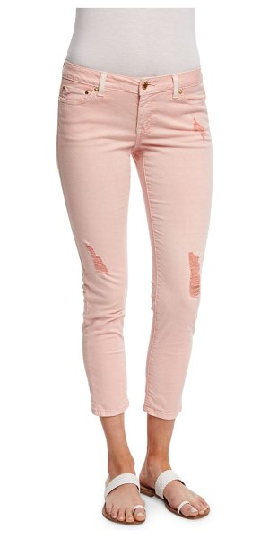 MICHAEL Michael Kors Distressed denim skinny jeans in pale plum blossom