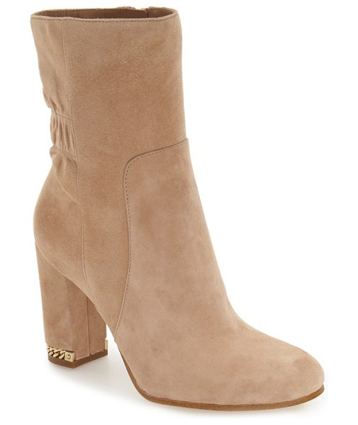 MICHAEL Michael Kors dolores bootie in dark khaki - A ruched shaft and inset chain detailing at the heel...