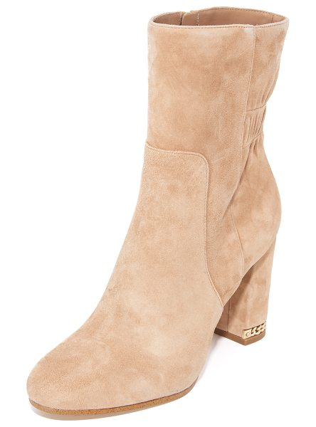 MICHAEL Michael Kors dolores booties in dark khaki - Sculpted panels lend a layered look to these luxe suede...