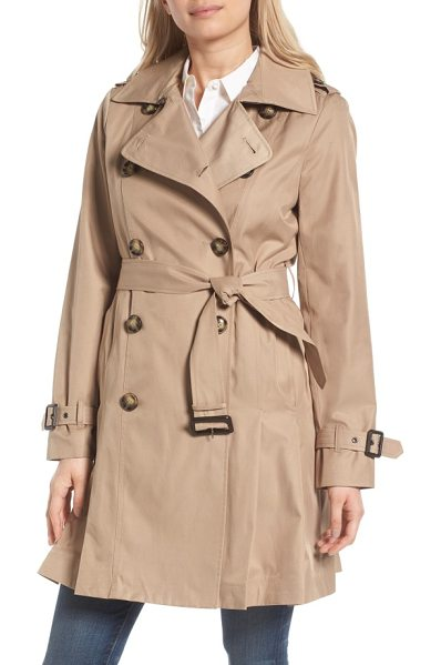 MICHAEL Michael Kors double breasted skirted trench coat in british khaki - Belted at the waist and flared for a skirted finish,...