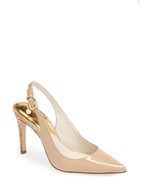 MICHAEL Michael Kors elisa slingback pointy toe pump in nude - A slender cork heel adds organic interest to a glossy...