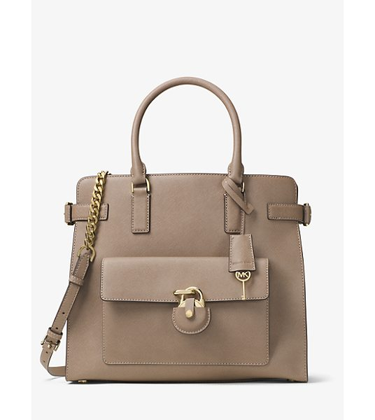 MICHAEL Michael Kors Emma Large Saffiano Leather Tote in natural - Secure Your Style Status Under Lock And Key With Our...